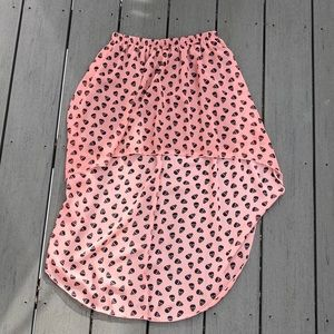 Pink Skull High Low Skirt